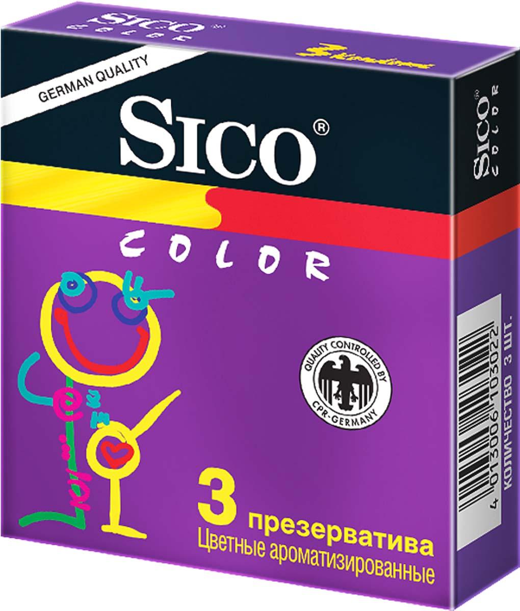 SICO Презервативы Color, цветные ароматизированные, 3 шт demoniq with love sophie pink set