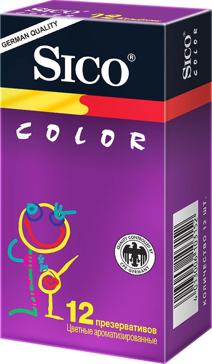 SICO Презервативы Color, цветные ароматизированные, 12 шт103152Цветные презервативы с накопителем, гладкие, с ароматизированной (клубника, мята, банан) силиконовой смазкой. Чувственные ароматы, необычные цвета этих презервативов привнесут в Вашу сексуальную жизнь много нового и необычного, сделав Ваши встречи более пикантными.