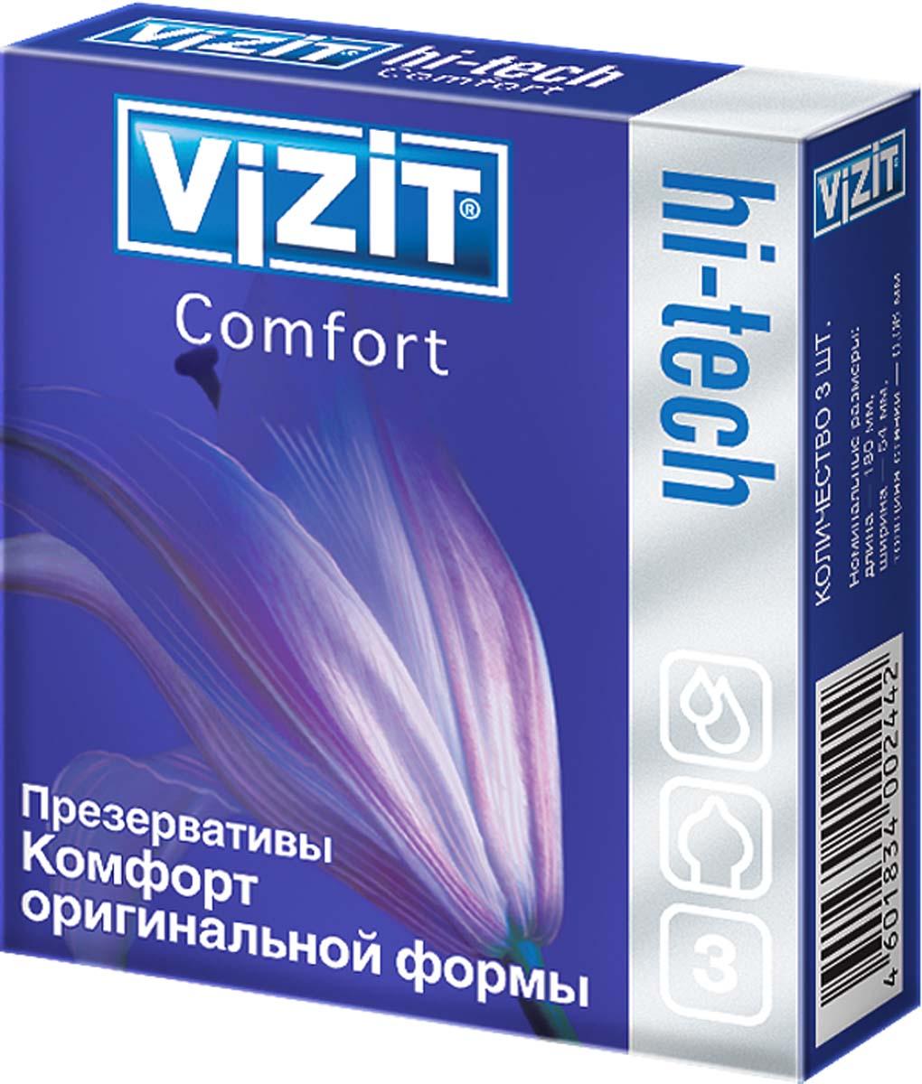 VIZIT Презервативы HI-TECH Comfort, оригинальной формы, 3 шт siyi мужчин и женщины с вагинальной смазкой после анального секса апелляционного суда паллиативных смазок для мужчин 120мли