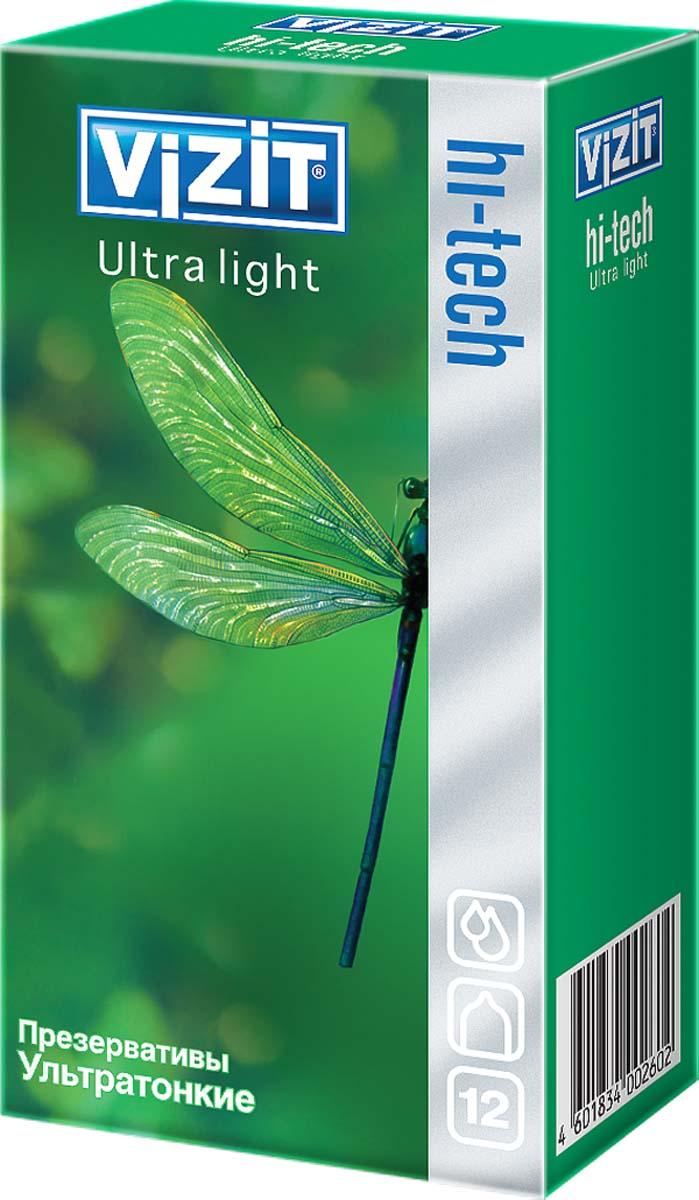 VIZIT Презервативы HI-TECH Ultra light, ультратонкие, 12 шт orion beaded anal toy черная анальная цепочка из шариков