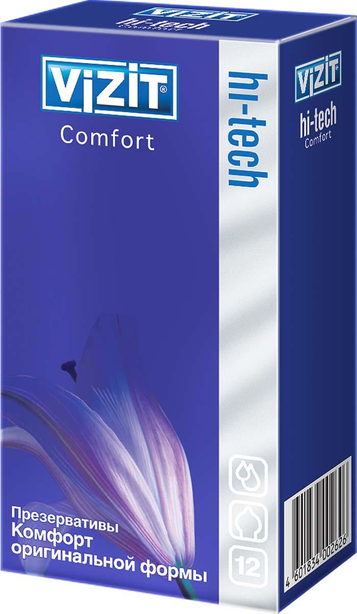 VIZIT Презервативы HI-TECH Comfort, оригинальной формы, 12 шт2626Презервативы оригинальной формы с накопителем, гладкие, с силиконовой смазкой.Отлично подойдут для мужчин, которым стандартные презервативы тесноваты и недостаточно соответствуют особенностям индивидуальной анатомии, тем, у кого ярко выражена головка полового члена. Подарят комфорт и неизменную надежность во время полового акта.