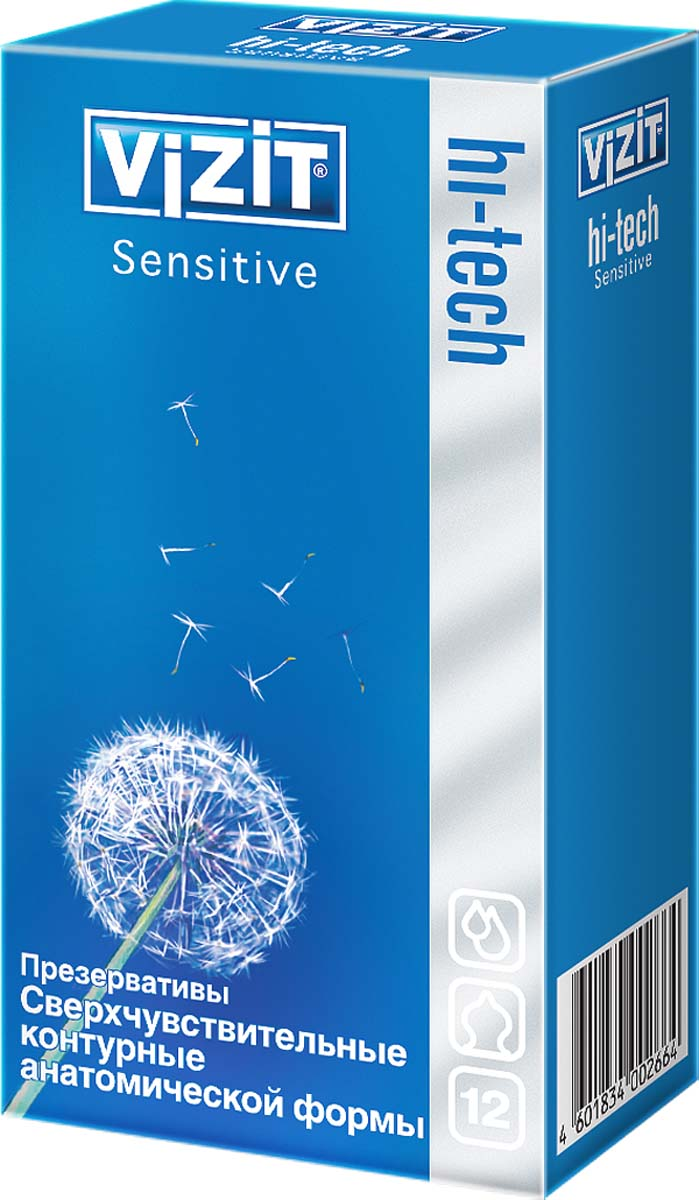 VIZIT Презервативы HI-TECH Sensitive, сверхчувствительные, контурные, анатомической формы, 12 шт2664Контурные презервативы с накопителем, гладкие, с силиконовой смазкой, повторяют анатомическую форму. Анатомическая форма обеспечивает наиболее чуткий контакт с партнером, повышает чувствительность, что позволяет получить максимальное удовольствие друг от друга.