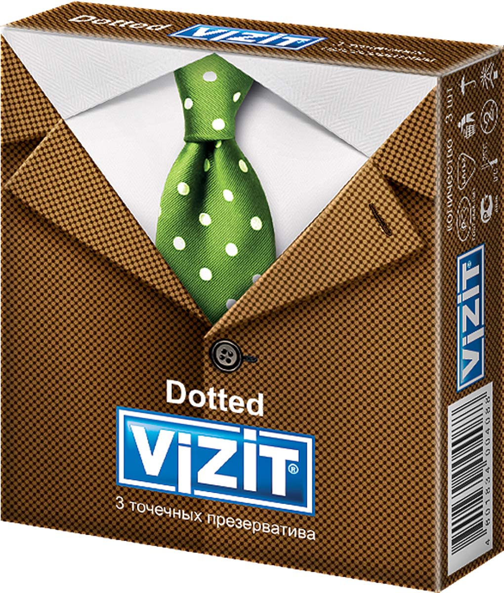 VIZIT Презервативы Dotted, точечные, 3 шт baile finish girl брюнетка секс кукла