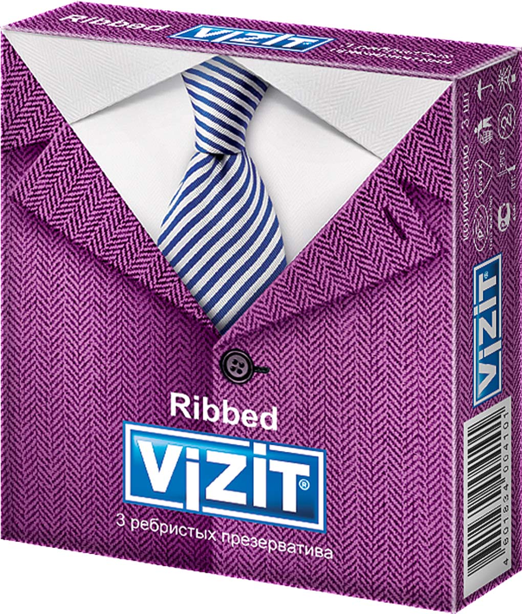VIZIT Презервативы Ribbed, ребристые, 3 шт ouch deluxe silicone strap on 10 красный страпон с креплениями