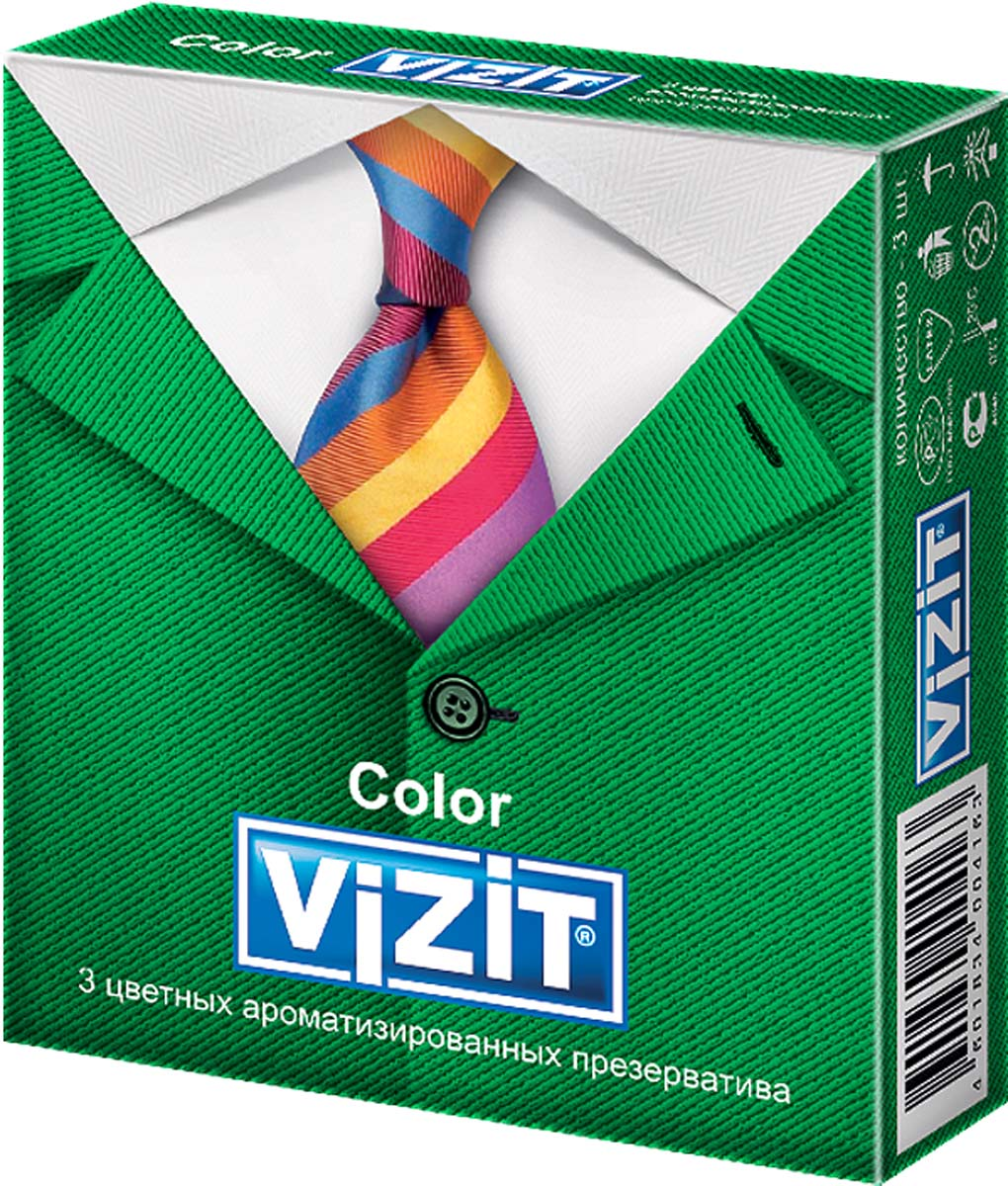 VIZIT Презервативы Color, цветные ароматизированные, 3 шт4163Цветные презервативы с накопителем, гладкие, с ароматизированной (клубника, банан, мята) силиконовой смазкой. Чувственные ароматы, необычные цвета этих презервативов привнесут в Вашу сексуальную жизнь много нового и необычного, сделав Ваши встречи более пикантными.