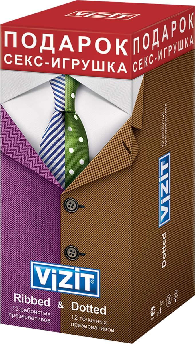 VIZIT Набор презервативов Ribbed 12 шт + Dotte 12 шт + ПОДАРОК: Секс-игрушка pjur back door glide 250 мл концентрированный анальный лубрикант