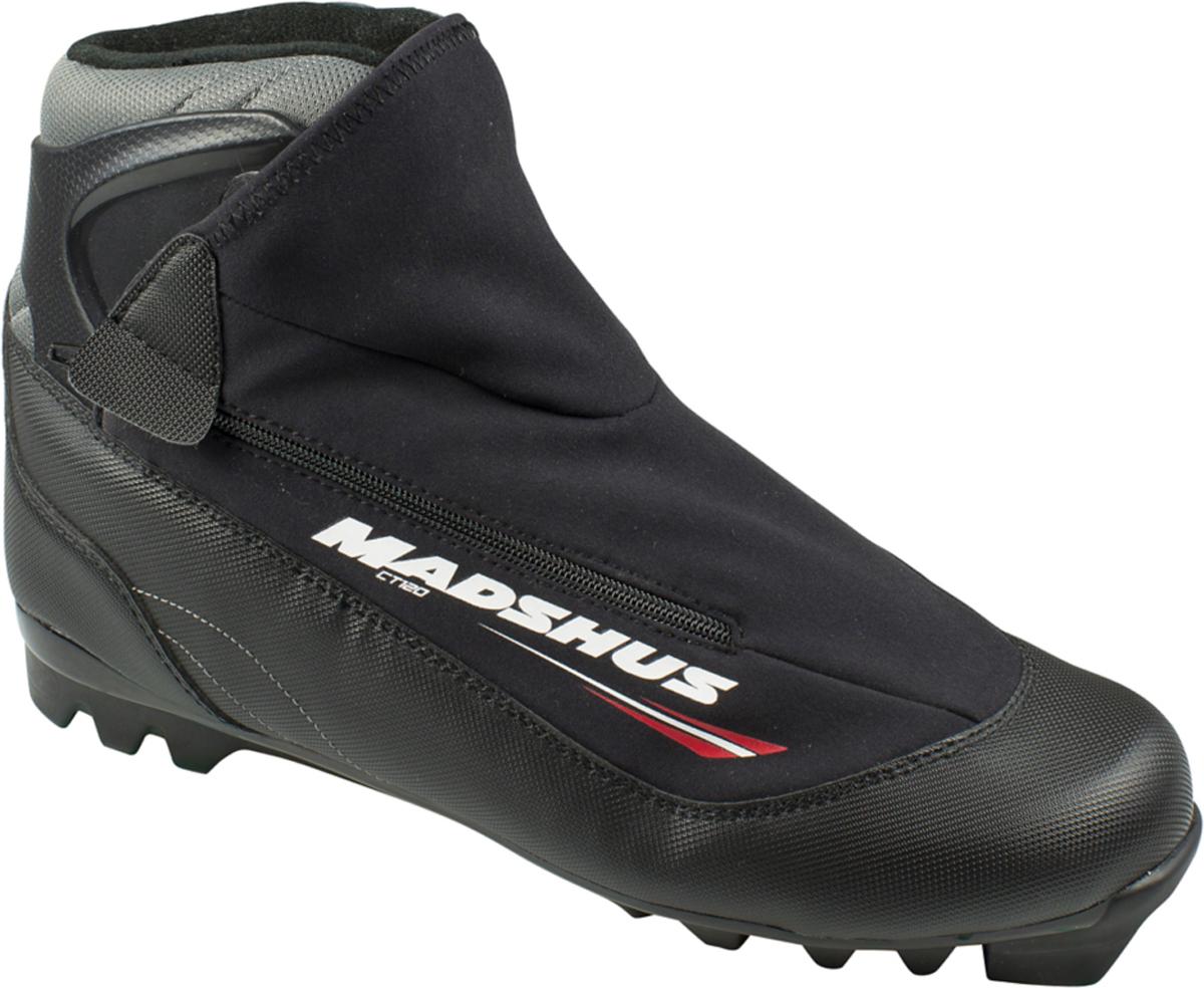 Ботинки лыжные Madshus CT120 Ski, цвет: черный. Размер 46N164009Новые CT120 имеют классическую для прогулочных ботинок конструкцию, к которой добавлены вшитое усиленное голенище для лучшей поддержки голеностопа и инновационная софтшелл-конструкция внешнего ботинка.Новая конструкция обеспечивает более быструю шнуровку и лучшую фиксацию стопы. Внешний ботинок модели CT120 из софтшелл-материала MemBrain сохранит ваши ноги в тепле и е на протяжении всех долгих лыжных прогулок.