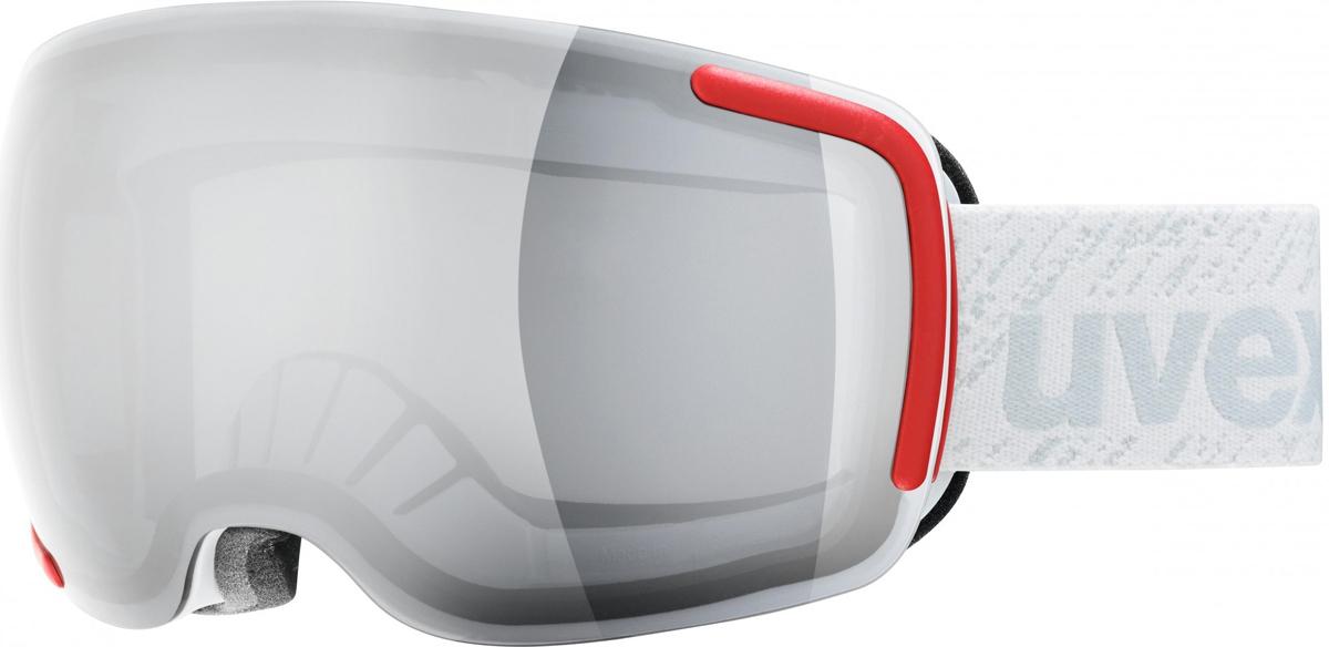 Маска горнолыжная Uvex Big 40 LM Ski, цвет: белый0442.1026Горнолыжная маска от Uvex, созданная специально для фрирайда. Маску можно использовать в любую погоду.Линза высотой 40 мм и конструкция без оправы обеспечивают оптимальный обзор.Снег не налипает, а соскальзывает с линзы. Также в модели использован комфортный пенный уплотнитель.Линза Variomatic автоматически меняет трансмиссию в зависимости от яркости освещения.Покрытие Supravision не позволит линзе запотеть.Состав: оправа: 100% полиуретан, линза: 100% поликарбонат; стреп: 100% нейлон