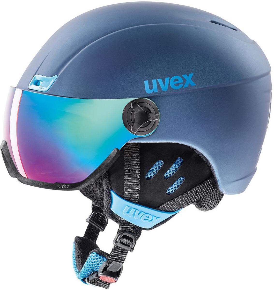 Шлем горнолыжный Uvex 400 Visor Style, цвет: синий. Размер 53-58