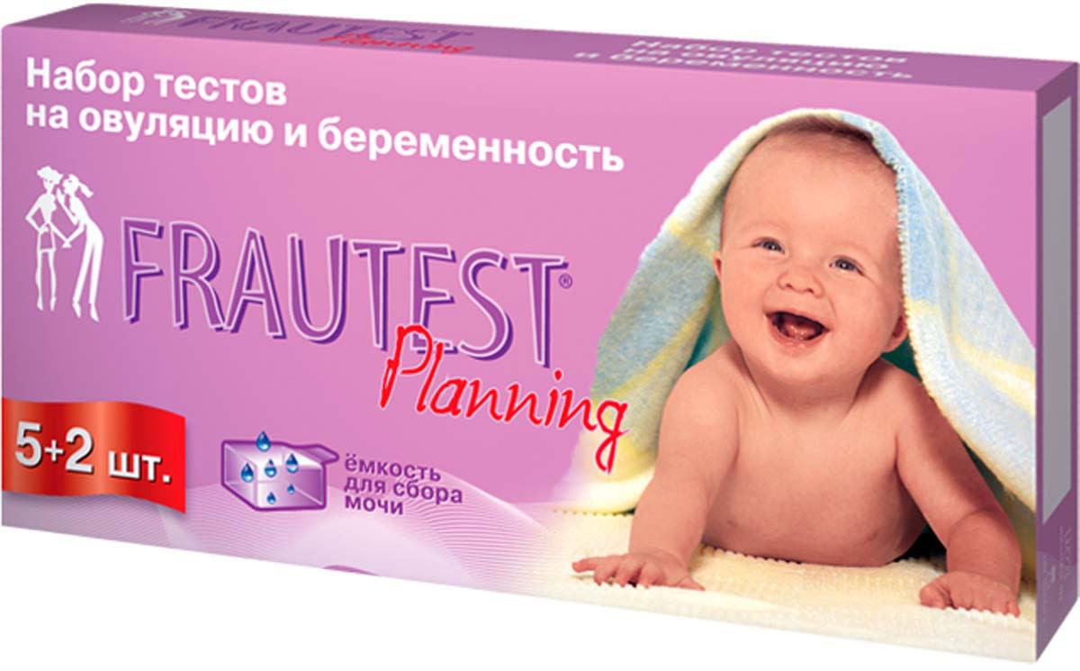 Frautest Тест на определение овуляции и беременности Planning, тест-полоски, 5 шт + 2 шт400169Набор. 5 тестов на определение овуляции + 2 теста на определение беременности.Тест-полоски, пропитанные реагентом (мечеными антителами к ЛГ для определения овуляции, мечеными антителами к ХГЧ для определения беременности).Чувствительность тестов на овуляцию — 30 мМЕ/мл.Чувствительность тестов на беременность — 15 мМЕ/мл.