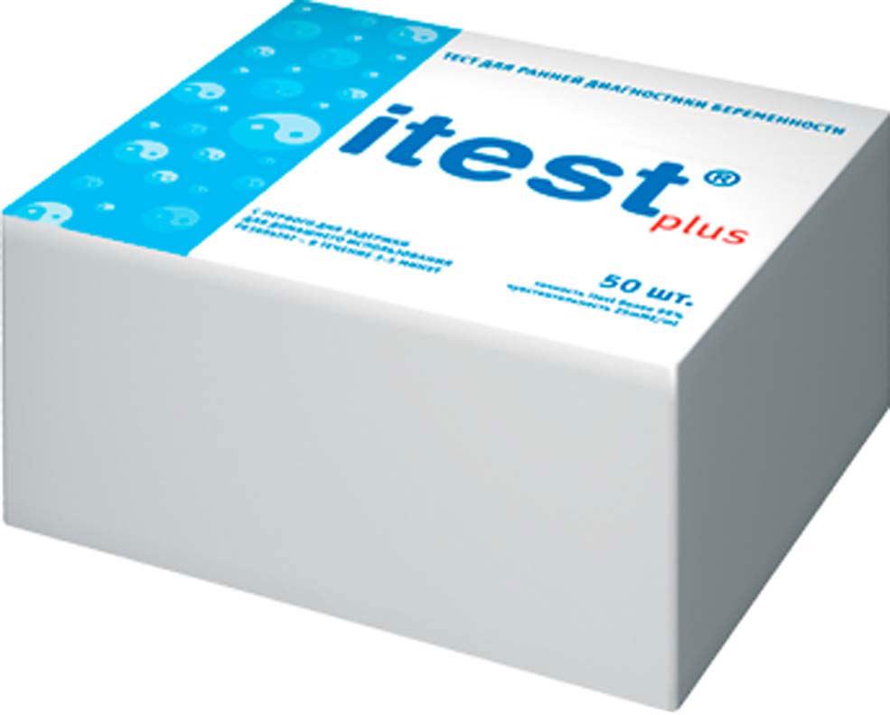 Itest Тест на определение беременности Plus, тест-полоска, 50 шт830001Тест-полоска, пропитанная реагентом (мечеными антителами к ХГЧ), в фольгированной упаковке. Чувствительность — 25 мМЕ/мл. Тестирование можно проводить с первого дня задержки.