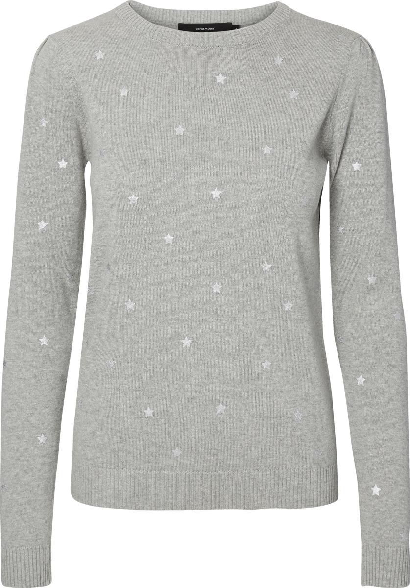 Пуловер женский Vero Moda, цвет: серый. 10185807_Light Grey Melange. Размер L (48)10185807_Light Grey MelangeЖенские пуловер от Vero Moda выполнен из хлопковой пряжи. Модель с длинными рукавами и круглым вырезом горловины.