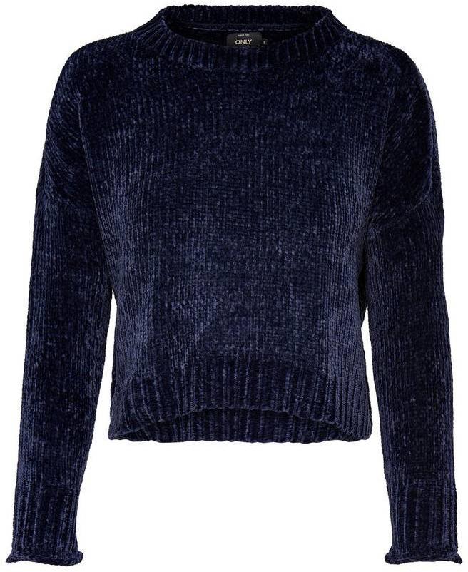 Пуловер женский Only, цвет: синий. 15141692_Sky Captain. Размер L (48)15141692_Sky CaptainЖенский укороченный пуловер от Only выполнен из высококачественной пряжи. Модель с длинными рукавами со спущенным плечом и круглым вырезом горловины.