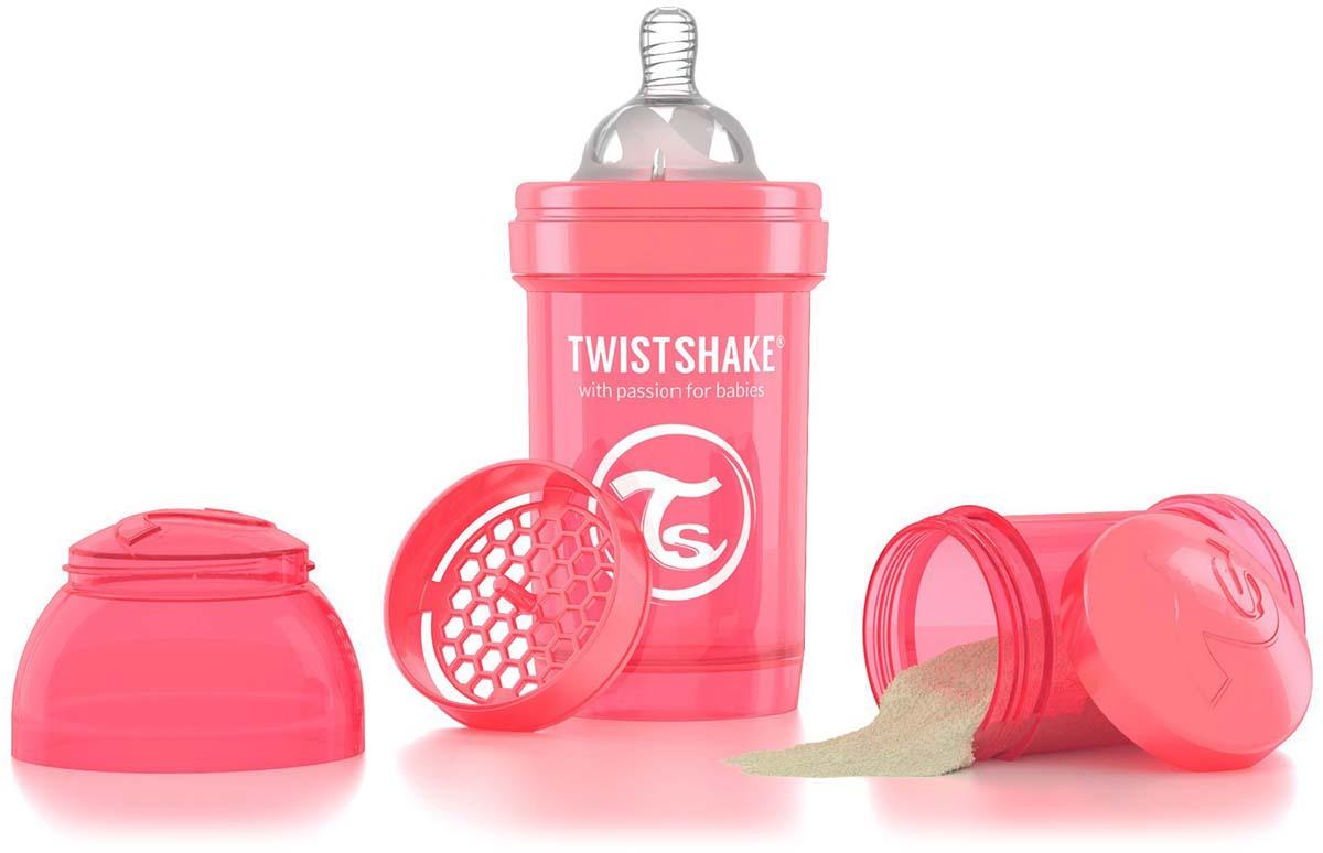Twistshake Бутылочка антиколиковая с контейнером для сухой смеси и соской Dreamcatcher от 0 месяцев цвет персиковый 180 мл -  Бутылочки