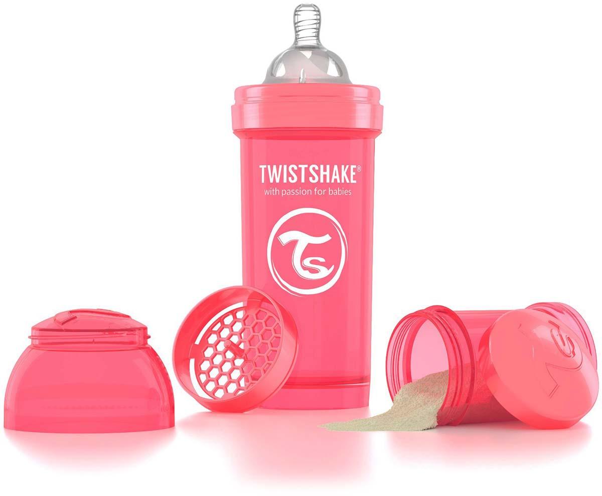 Twistshake Бутылочка антиколиковая с контейнером для сухой смеси и соской Dreamcatcher от 2 месяцев цвет персиковый 260 мл -  Бутылочки