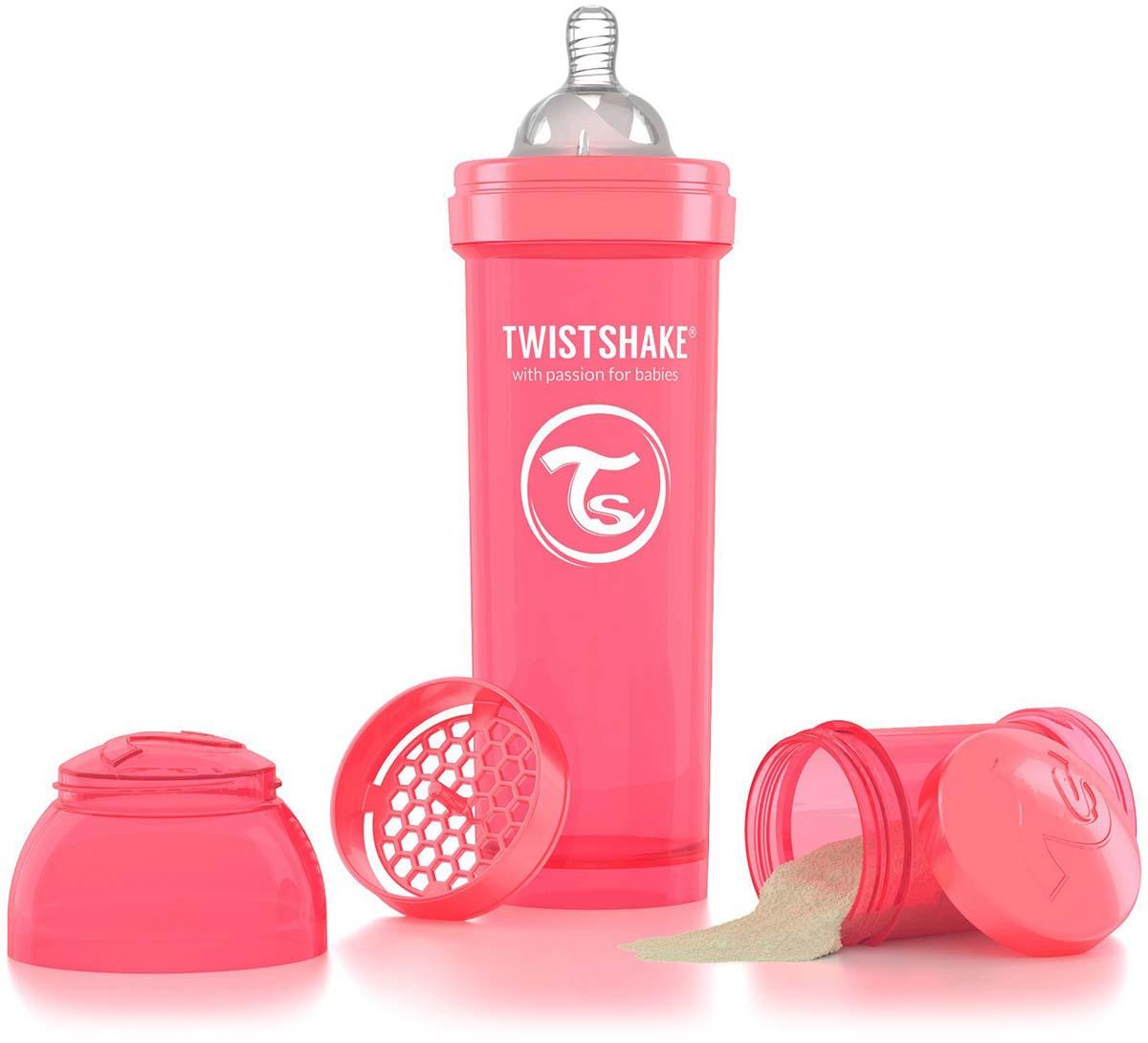 Twistshake Бутылочка антиколиковая с контейнером для сухой смеси и соской Dreamcatcher от 4 месяцев цвет персиковый 330 мл -  Бутылочки