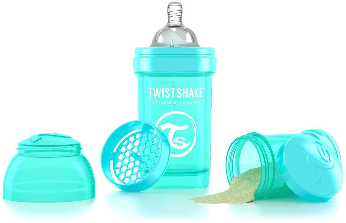 Twistshake Бутылочка антиколиковая с контейнером для сухой смеси и соской Sleepyhead от 0 месяцев цвет бирюзовый 180 мл -  Бутылочки