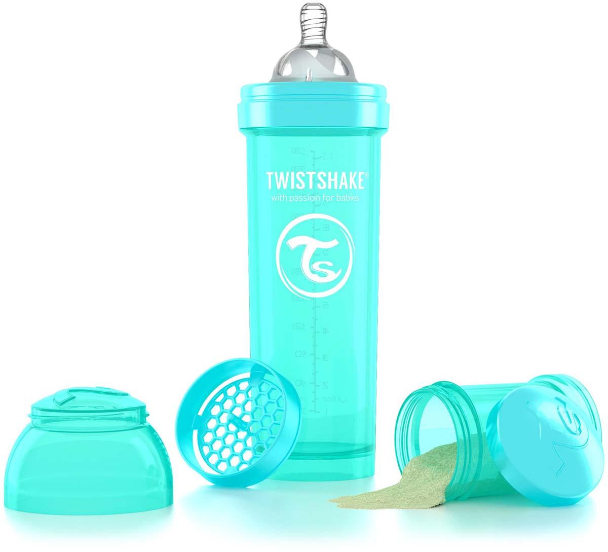 Twistshake Бутылочка антиколиковая с контейнером для сухой смеси и соской Sleepyhead от 4 месяцев цвет бирюзовый 330 мл -  Бутылочки