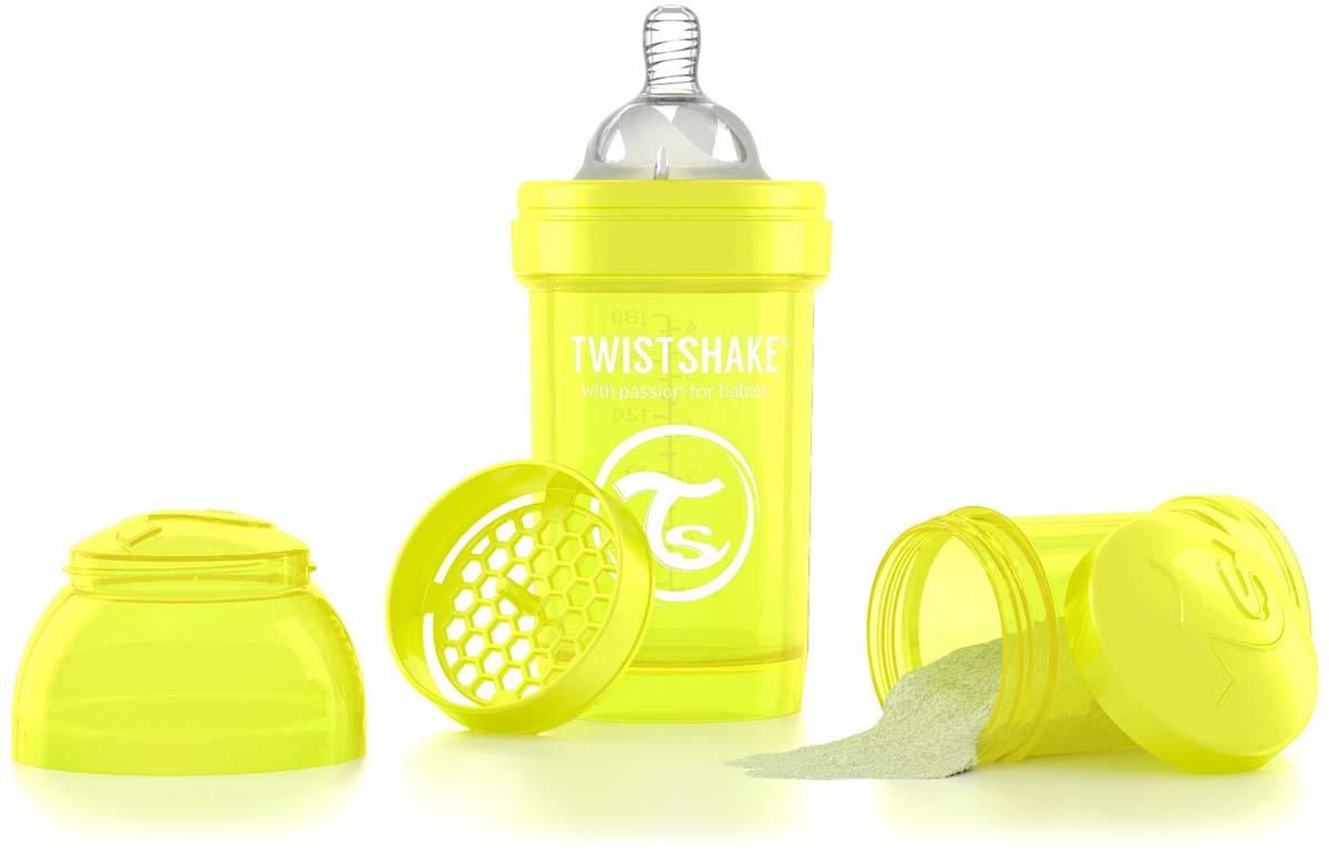 Twistshake Бутылочка антиколиковая с контейнером для сухой смеси и соской Starlight от 0 месяцев цвет желтый 180 мл -  Бутылочки
