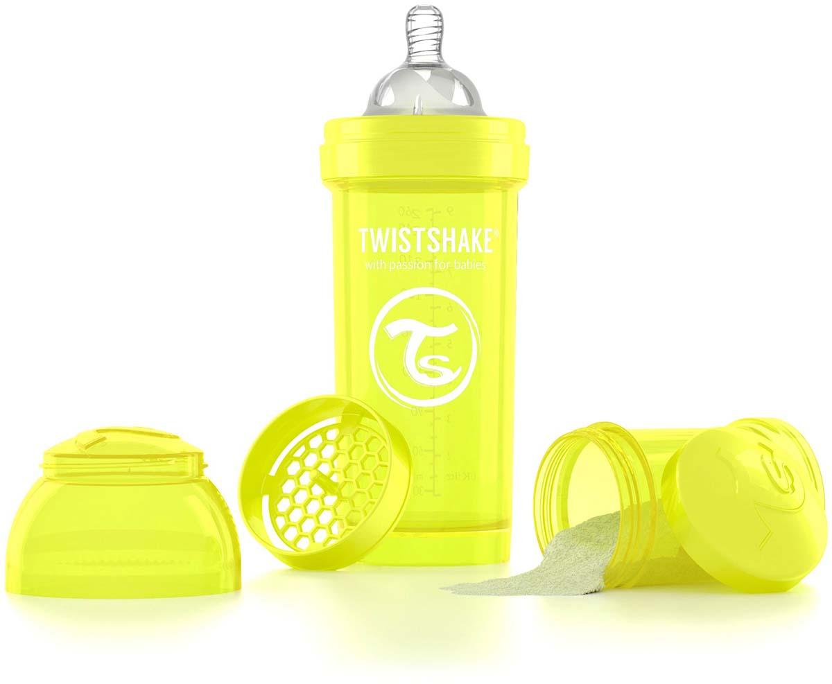 Twistshake Бутылочка антиколиковая с контейнером для сухой смеси и соской Starlight от 2 месяцев цвет желтый 260 мл -  Бутылочки