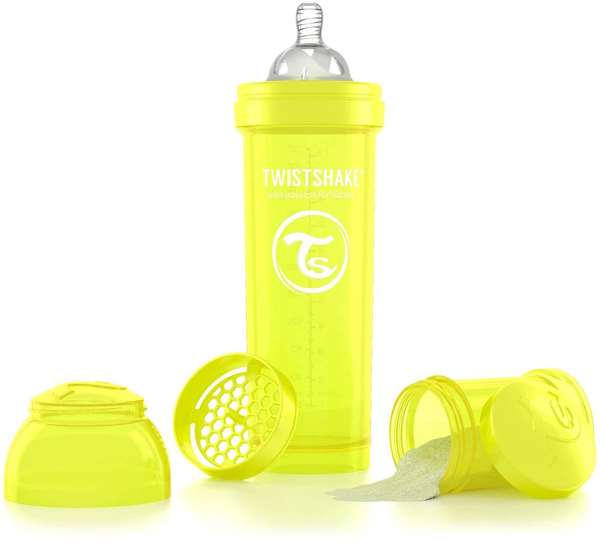 Twistshake Бутылочка антиколиковая с контейнером для сухой смеси и соской Starlight от 4 месяцев цвет желтый 330 мл -  Бутылочки