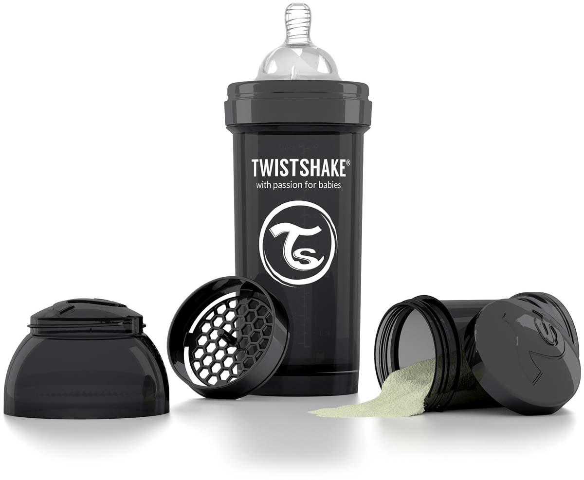 Twistshake Бутылочка антиколиковая с контейнером для сухой смеси и соской Superhero от 2 месяцев цвет черный 260 мл -  Бутылочки