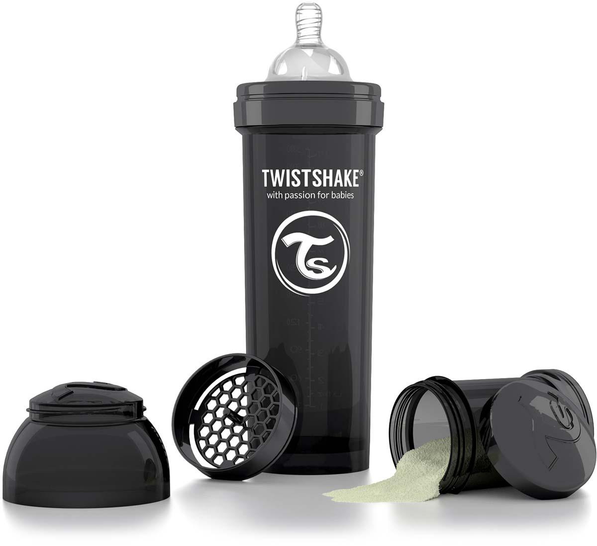 Twistshake Бутылочка антиколиковая с контейнером для сухой смеси и соской Superhero от 4 месяцев цвет черный 330 мл -  Бутылочки