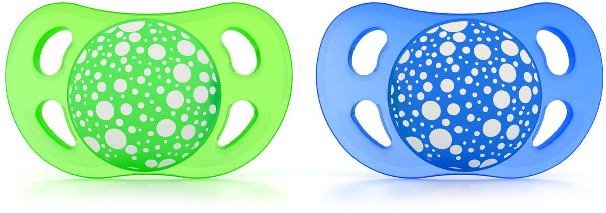 Фото Twistshake Пустышка от 0 до 6 месяцев цвет синий зеленый 2 шт