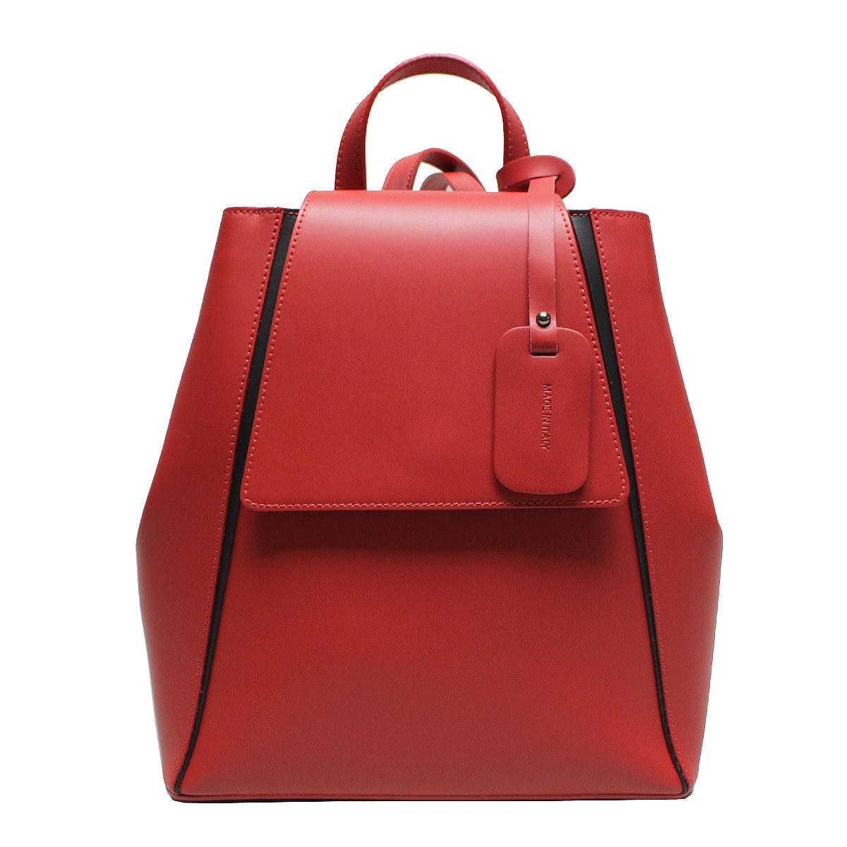 Рюкзак женский Edmins, цвет: красный. 5017 ED Winter red018-101701Стильный женский рюкзак Edmins выполнен из натуральной кожи. Рюкзак закрывается на магнитную застежку и клапан. Внутри - одно отделение, в котором карман на застежке-молнии и два открытых кармана.Рюкзак имеет жесткую форму. Декорирован узкими вставками черной кожи, что подчеркивает геометрию рюкзака. По бокам на высоте клапана - кнопки. Обращаем внимание, что необходимо произвести усилие для застегивания кнопок. Это функционально продуманно, чтобы исключить легкое растягивание кнопок под нагрузкой содержимого рюкзака. На дне рюкзака металлические ножки, предохраняющие дно от потертостей и загрязнений.Высота ручки рюкзака: 9 см.Длина лямок регулируется - от 70 см до 87 см.