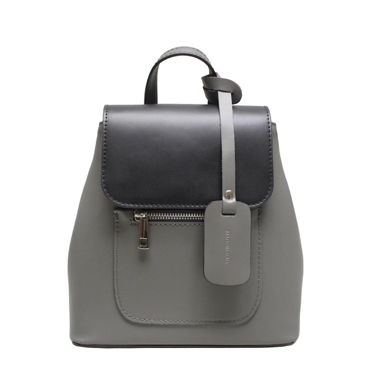 Рюкзак женский Edmins, цвет: черно-серый. 9940 ED Black-grey1034071Стильный женский рюкзачок Edmins выполнен из натуральной кожи. Рюкзак закрывается на магнитную застежку и клапан. Внутри - одно отделение, в котором карман на застежке-молнии и два открытых кармана, снаружи карманчик на застежке-молнии. По бокам на высоте клапана - кнопки. Обращаем внимание, что необходимо произвести усилие для застегивания кнопок. Это функционально продуманно, чтобы исключить легкое растягивание кнопок под нагрузкой содержимого рюкзака. На дне рюкзака металлические ножки, предохраняющие дно от потертостей и загрязнений. Цвет фурнитуры: серебряный. Высота ручки рюкзака: 6 см.Длина лямок регулируется от 64 см до 76 см.