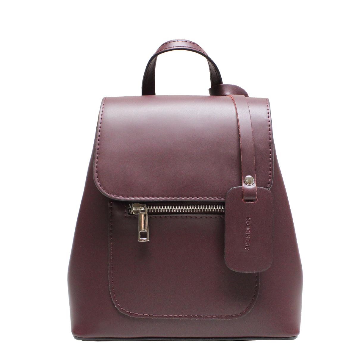 Рюкзак женский Edmins, цвет: винный. 9940 ED Wine solid5601-3 BLACKСтильный женский рюкзачок Edmins выполнен из натуральной кожи. Рюкзак закрывается на магнитную застежку и клапан. Внутри - одно отделение, в котором карман на застежке-молнии и два открытых кармана, снаружи карманчик на застежке-молнии.Рюкзак имеет жесткую форму. По бокам на высоте клапана - кнопки. Обращаем внимание, что необходимо произвести усилие для застегивания кнопок. Это функционально продуманно, чтобы исключить легкое растягивание кнопок под нагрузкой содержимого рюкзака. На дне рюкзака металлические ножки, предохраняющие дно от потертостей и загрязнений.Цвет фурнитуры: серебряный. Высота ручки рюкзака: 6 см. Длина лямок регулируется от 64 см до 76 см.