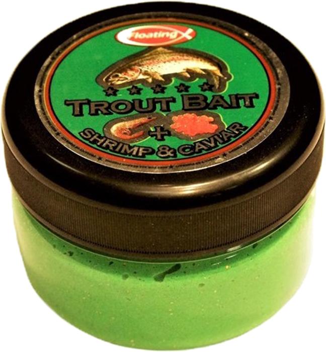 Паста форелевая FishBait Креветка & Икра, зимняя, цвет: зеленый, 75 млfbw-4732155Паста форелевая FishBait - яркие UV цвета, обилие блесток и оптимально подобранный аромат привлекают внимание рыбы, и являются раздражителем, провоцирующим форель на поклевку. Интенсивный запах не позволит даже самой капризной рыбе остаться равнодушной. Благодаря идеально подобранной консистенции паста отлично держится на крючке, остается эластичной на холоде, не боится замерзания и высыхания.