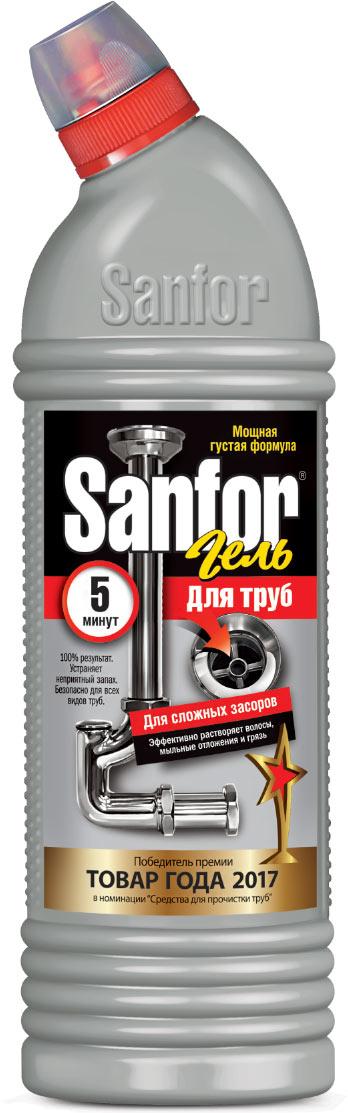 """Средство для очистки канализационных труб """"Sanfor"""" быстро устранит даже очень сильные засоры в канализационных стоках. Результат достигается уже за 5 минут. Благодаря густой структуре проникает глубоко в трубу непосредственно к засору, даже при наличии воды. Эффективно растворяет в стоках волосы, остатки пищи, жир и другие загрязнения. Нейтрализует неприятные запахи. Средство безопасно для всех видов труб, в том числе и пластиковых. Убивает микробы за 60 минут. Характеристики:Масса: 750 г. Артикул:  1559.  Как выбрать качественную бытовую химию, безопасную для природы и людей. Статья OZON Гид"""