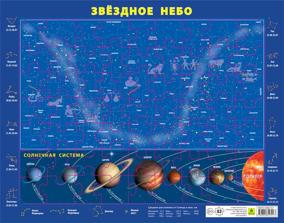 Карта звездного неба и Солнечной системы. Детский пазл на подложке(36х28 см, 63 эл.)