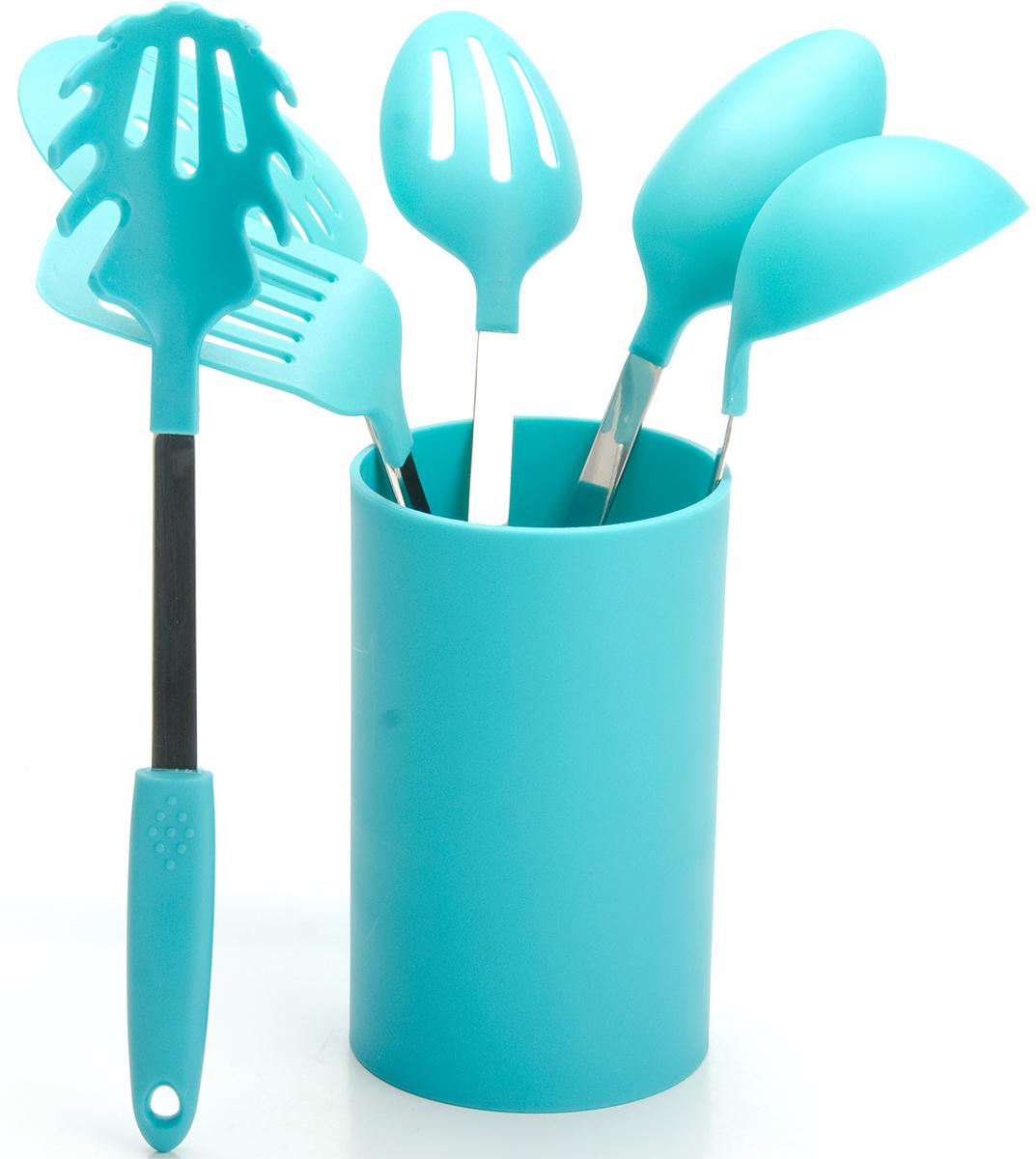 """Набор кухонных принадлежностей """"Mayer & Boch"""" включает в себя половник, гарнирную ложку, ложку для помешивания, лопатку с прорезями, шумовку, ложку для спагетти и подставку. Приборы изготовлены из нержавеющей стали и цветного полипропилена, отличаются высокой износоустойчивостью и надежностью, не окисляются со временем и не портят вкус продуктов, кроме того, они абсолютно безопасны для любых антипригарных покрытий. Входящая в набор удобная высокая подставка для хранения предметов набора поможет сэкономить место на рабочем столе. Набор упакован в красивую прозрачную упаковку с ручкой."""