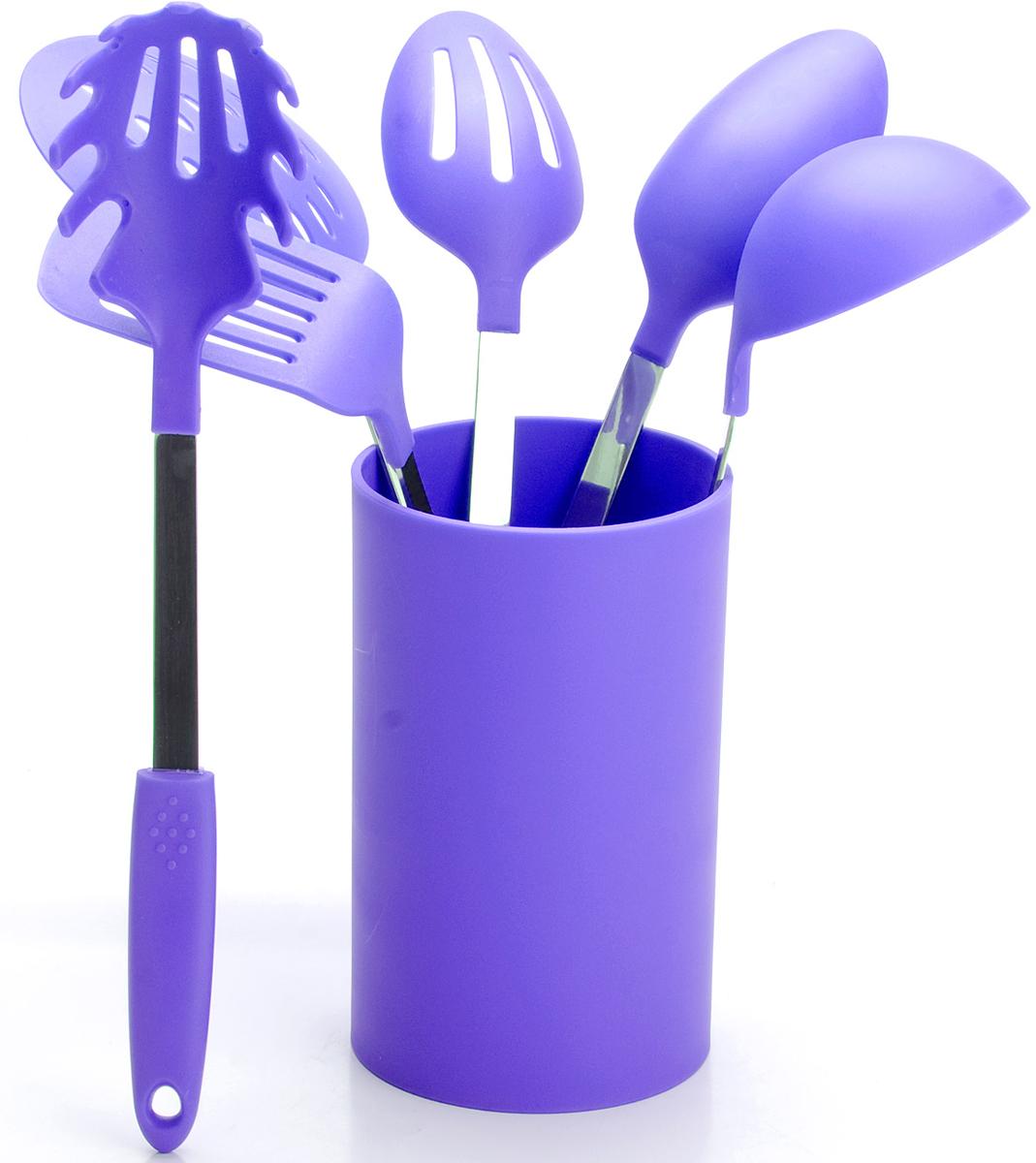 Набор половников Mayer & Boch, цвет: фиолетовый. 22485-222485-2Набор кухонных принадлежностей Mayer & Boch включает в себя половник, гарнирную ложку, ложку для помешивания, лопатку с прорезями, шумовку, ложку для спагетти и подставку. Приборы изготовлены из нержавеющей стали и цветного полипропилена, отличаются высокой износоустойчивостью и надежностью, не окисляются со временем и не портят вкус продуктов, кроме того, они абсолютно безопасны для любых антипригарных покрытий. Входящая в набор удобная высокая подставка для хранения предметов набора поможет сэкономить место на рабочем столе. Набор упакован в красивую прозрачную упаковку с ручкой.