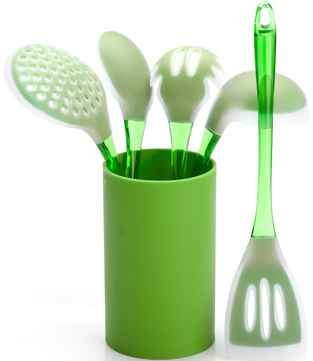 Набор половников Mayer & Boch, цвет: салатовый. 22487-122487-1Набор кухонных принадлежностей Mayer & Boch включает в себя ложку для спагетти, лопатку с прорезями, ложку для помешивания, шумовку, половник и подставку. Приборы изготовлены из цветного полистирола и силикона, отличаются высокой износоустойчивостью и надежностью, не окисляются со временем и не портят вкус продуктов, кроме того, они абсолютно безопасны для любых антипригарных покрытий. Входящая в набор удобная высокая подставка для хранения предметов набора поможет сэкономить место на рабочем столе. Набор упакован в красивую прозрачную упаковку с ручкой.