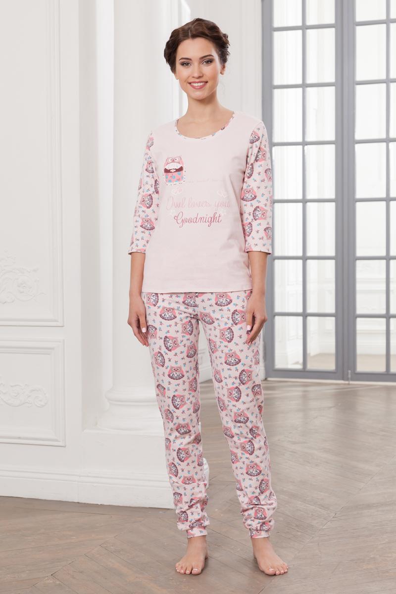 купить Домашний комплект женский Cleo Сова: лонгслив, брюки, цвет: розовый. 368. Размер 46 по цене 3020 рублей