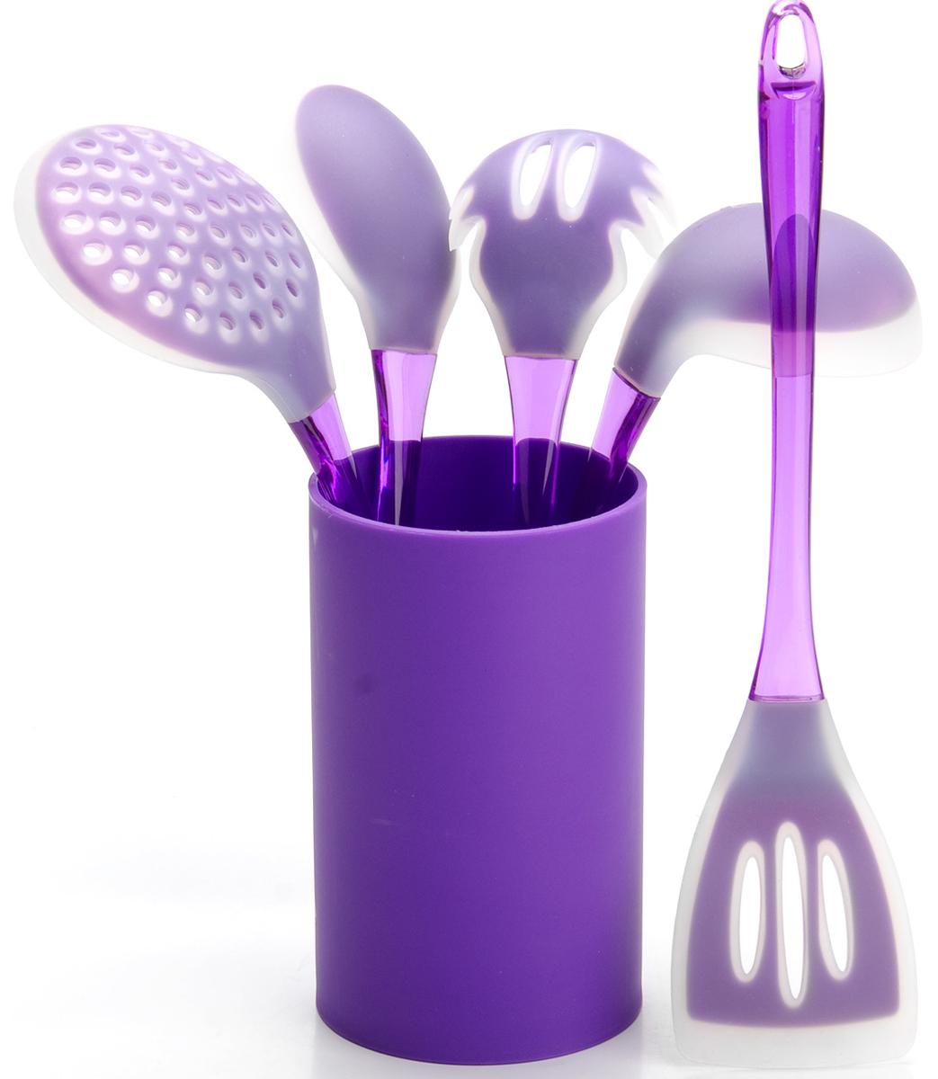 Набор половников Mayer & Boch, цвет: фиолетовый. 22487-222487-2Набор кухонных принадлежностей Mayer & Boch включает в себя ложку для спагетти, лопатку с прорезями, ложку для помешивания, шумовку, половник и подставку. Приборы изготовлены из цветного полистирола и силикона, отличаются высокой износоустойчивостью и надежностью, не окисляются со временем и не портят вкус продуктов, кроме того, они абсолютно безопасны для любых антипригарных покрытий. Входящая в набор удобная высокая подставка для хранения предметов набора поможет сэкономить место на рабочем столе. Набор упакован в красивую прозрачную упаковку с ручкой.