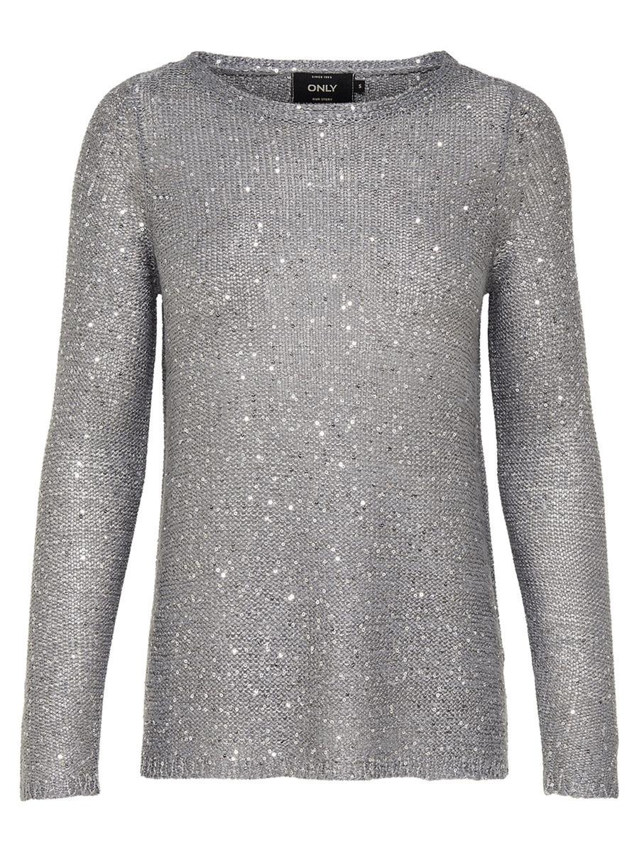 Пуловер женский Only, цвет: серый. 15140216_Medium Grey Melange. Размер XS (40/42) платье only цвет черный 15139191 black размер xs 40 42