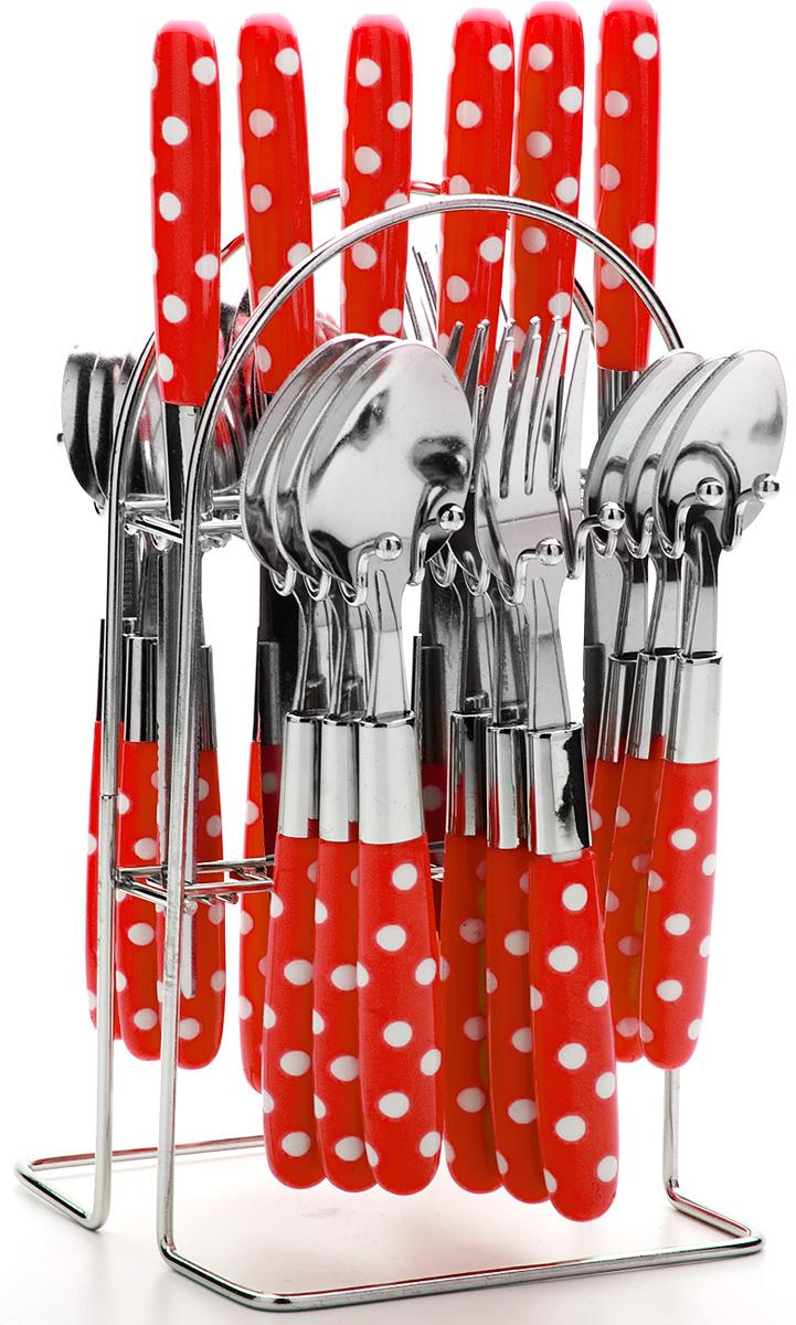 Набор столовых приборов Mayer & Boch, цвет: красный, 25 предметов. 22490-222490-2Набор столовых приборов Mayer & Boch на 6 персон выполнен из прочной нержавеющей стали и цветного пластика. В набор входит 25 предметов: 6 столовых ножей, 6 столовых ложек, 6 столовых вилок и 6 чайных ложек и металлическая подставка. Приборы имеют удобные эргономичные пластиковые ручки. Прекрасное сочетание свежего дизайна и удобство использования предметов набора придется по душе каждому. Предметы набора расположены на подставке с секциями для каждого вида приборов. Набор столовых приборов подойдет для сервировки стола, как дома, так и на даче и всегда будет важной частью трапезы, а также станет замечательным подарком. Подходит для мытья в посудомоечной машине.