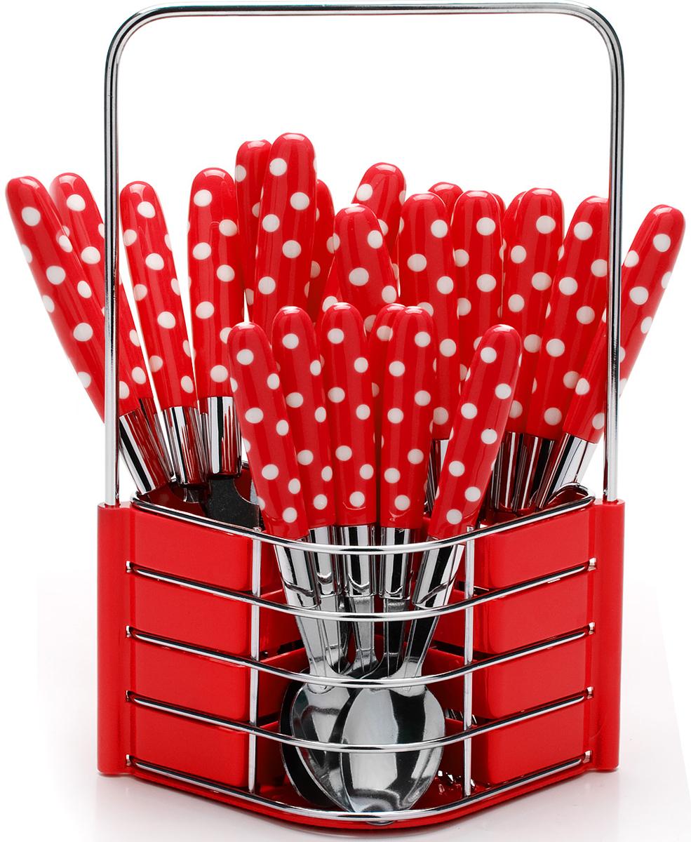 Набор столовых приборов Mayer & Boch, цвет: красный, 25 предметов. 23239-223239-2Набор столовых приборов Mayer & Boch на 6 персон выполнен из прочной нержавеющей стали и цветного пластика. В набор входит 25 предметов: 6 столовых ножей, 6 столовых ложек, 6 столовых вилок и 6 чайных ложек и металлическая подставка. Приборы имеют удобные эргономичные пластиковые ручки. Прекрасное сочетание свежего дизайна и удобство использования предметов набора придется по душе каждому. Предметы набора расположены на подставке из стали и пластика с четырьмя отделениями для каждого вида приборов. Подставка оснащена удобной ручкой для переноски. Набор столовых приборов подойдет для сервировки стола, как дома, так и на даче и всегда будет важной частью трапезы, а также станет замечательным подарком. Подходит для мытья в посудомоечной машине.