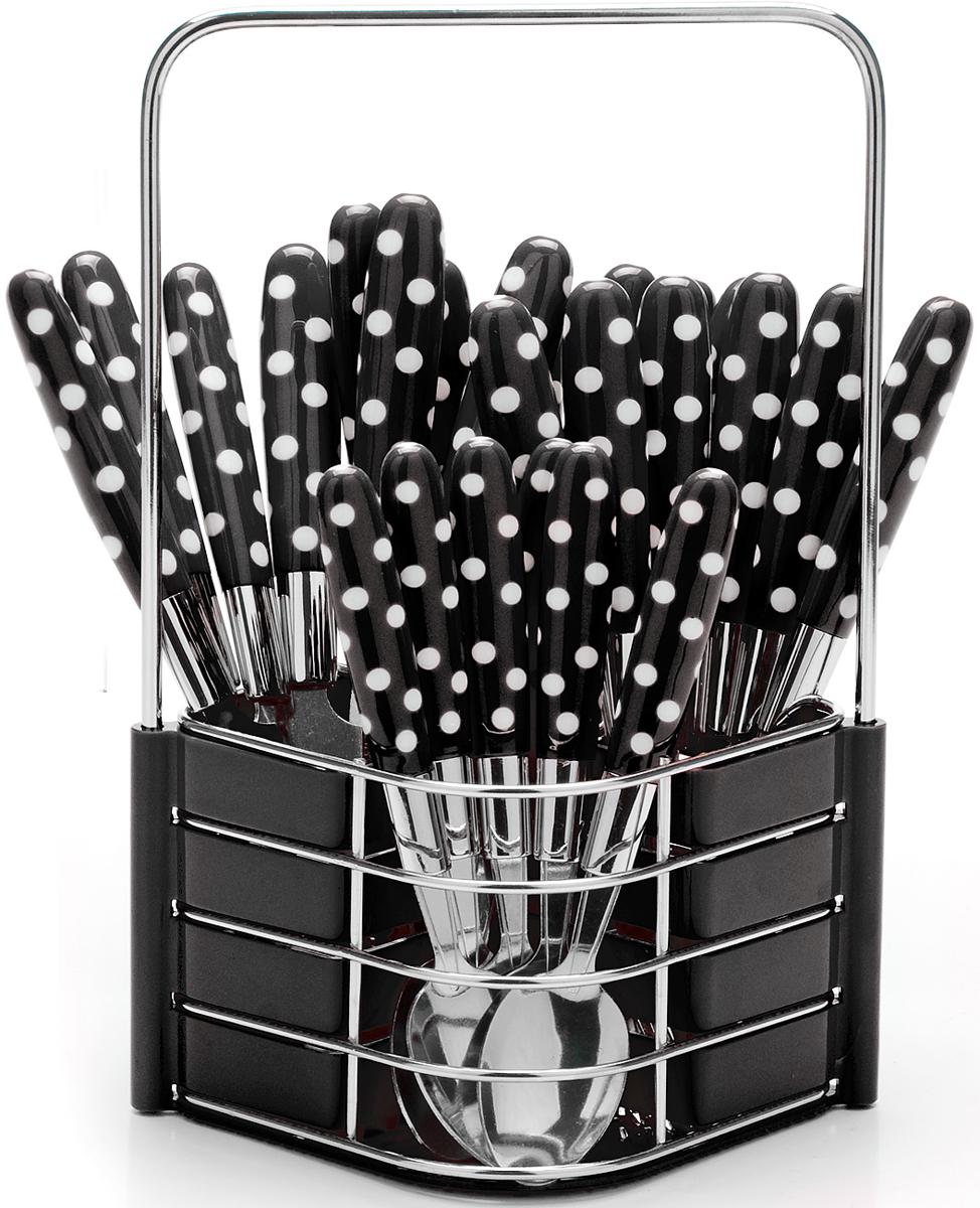 """Набор столовых приборов """"Mayer & Boch"""" на 6 персон выполнен из прочной нержавеющей стали и цветного пластика. В набор входит 25 предметов: 6 столовых ножей, 6 столовых ложек, 6 столовых вилок и 6 чайных ложек и металлическая подставка. Приборы имеют удобные эргономичные пластиковые ручки. Прекрасное сочетание свежего дизайна и удобство использования предметов набора придется по душе каждому. Предметы набора расположены на подставке из стали и пластика с четырьмя отделениями для каждого вида приборов. Подставка оснащена удобной ручкой для переноски. Набор столовых приборов подойдет для сервировки стола, как дома, так и на даче и всегда будет важной частью трапезы, а также станет замечательным подарком. Подходит для мытья в посудомоечной машине."""