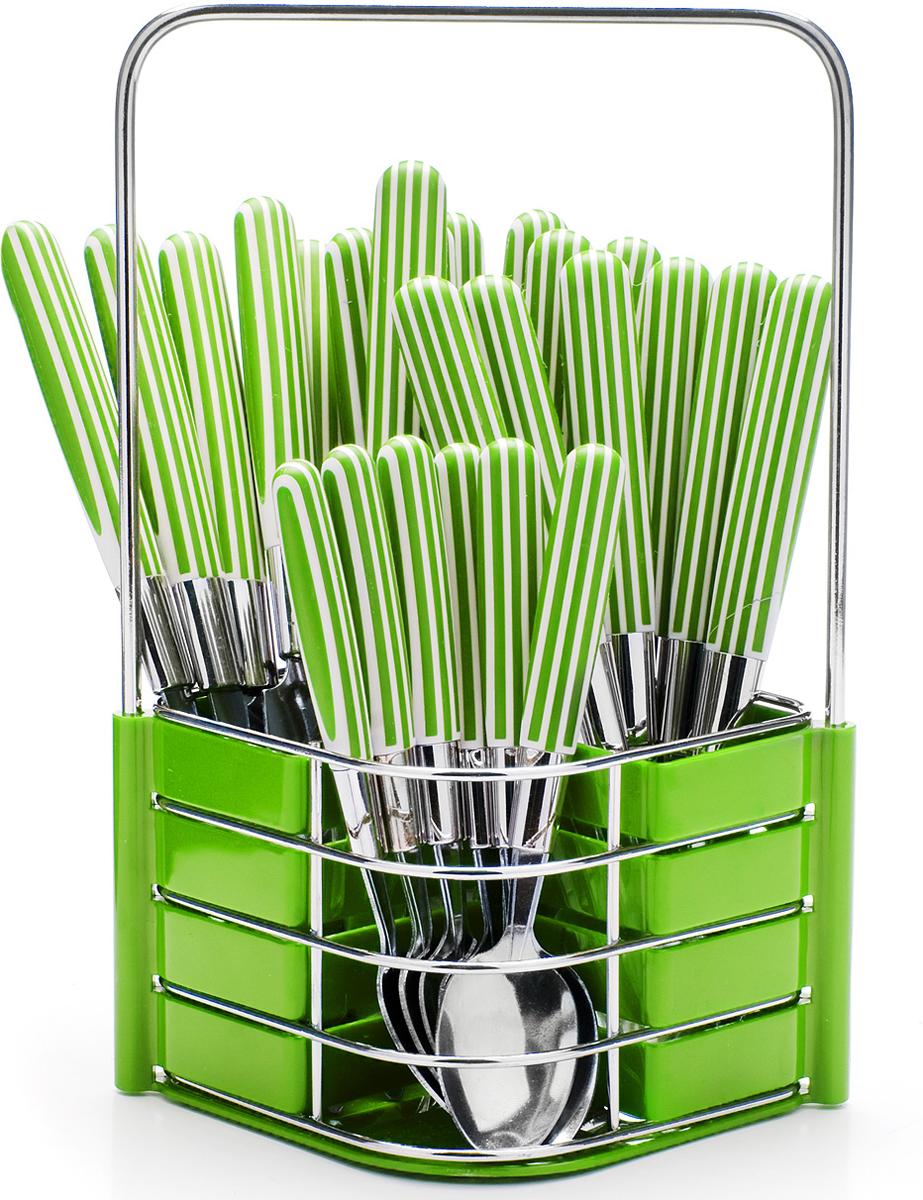 Набор столовых приборов Mayer & Boch, цвет: салатовый, 25 предметов. 23240-123240-1Набор столовых приборов Mayer & Boch на 6 персон выполнен из прочной нержавеющей стали и цветного пластика. В набор входит 25 предметов: 6 столовых ножей, 6 столовых ложек, 6 столовых вилок и 6 чайных ложек и металлическая подставка. Приборы имеют удобные эргономичные пластиковые ручки. Прекрасное сочетание свежего дизайна и удобство использования предметов набора придется по душе каждому. Предметы набора расположены на подставке из стали и пластика с четырьмя отделениями для каждого вида приборов. Подставка оснащена удобной ручкой для переноски. Набор столовых приборов подойдет для сервировки стола как дома, так и на даче и всегда будет важной частью трапезы, а также станет замечательным подарком. Подходит для мытья в посудомоечной машине.