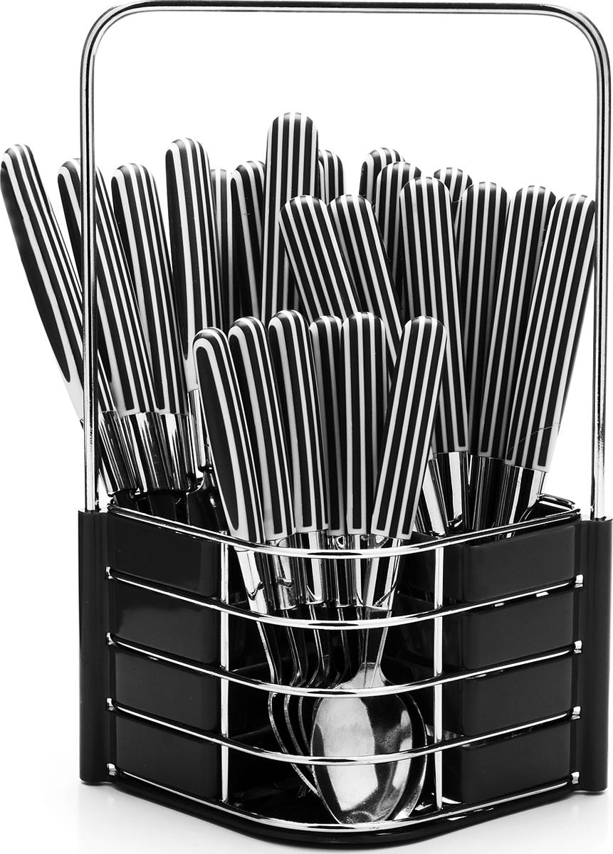 Набор столовых приборов Mayer & Boch, цвет: черный, 25 предметов. 23240-323240-3Набор столовых приборов Mayer & Boch на 6 персон выполнен из прочной нержавеющей стали и цветного пластика. В набор входит 25 предметов: 6 столовых ножей, 6 столовых ложек, 6 столовых вилок и 6 чайных ложек и металлическая подставка. Приборы имеют удобные эргономичные пластиковые ручки. Прекрасное сочетание свежего дизайна и удобство использования предметов набора придется по душе каждому. Предметы набора расположены на подставке из стали и пластика с четырьмя отделениями для каждого вида приборов. Подставка оснащена удобной ручкой для переноски. Набор столовых приборов подойдет для сервировки стола, как дома, так и на даче и всегда будет важной частью трапезы, а также станет замечательным подарком. Подходит для мытья в посудомоечной машине.
