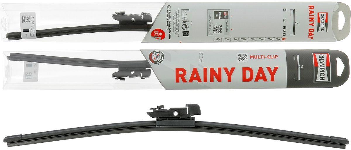 Щетка стеклоочистителя Champion Rainy Day, бескаркасная, длина 40 см, 1 штRDF40Благодаря конструкции с одинарным ребром жесткости, бескаркасные щетки стеклоочистителя Champion Rainy Day гарантируют меньшее скручивание и более высокую прочность при экстремальных режимах использования в зимнее время, на автомойке и т. д. Низкий профиль конструкции создает меньшее сопротивление набегающему потоку, обеспечивает привлекательный внешний вид и высокую эффективность очистки. Все эти конструктивные особенности обеспечивают надежность стеклоочистителям и возможность их установки практически на любой легковой автомобиль, включая модели с каркасными щетками стеклоочистителей. Стеклоочистители Champion Rainy Day имеют универсальное крепление Multi-Clip и крепление под крючок Classic Clip для лучшей совместимости. Благодаря обтекаемой конструкции подъем щетки набегающим потоком минимален. Это обеспечивает высокую эффективности очистки. Профиль щетки тонкий и узкий. На стекле остается минимальное количество воды за счет меньшего остаточного разбрызгивания. Прочная конструкция Champion Rainy Day легко выдержит мойку автомобиля или суровую зиму. Эти щетки созданы для сложных условий.