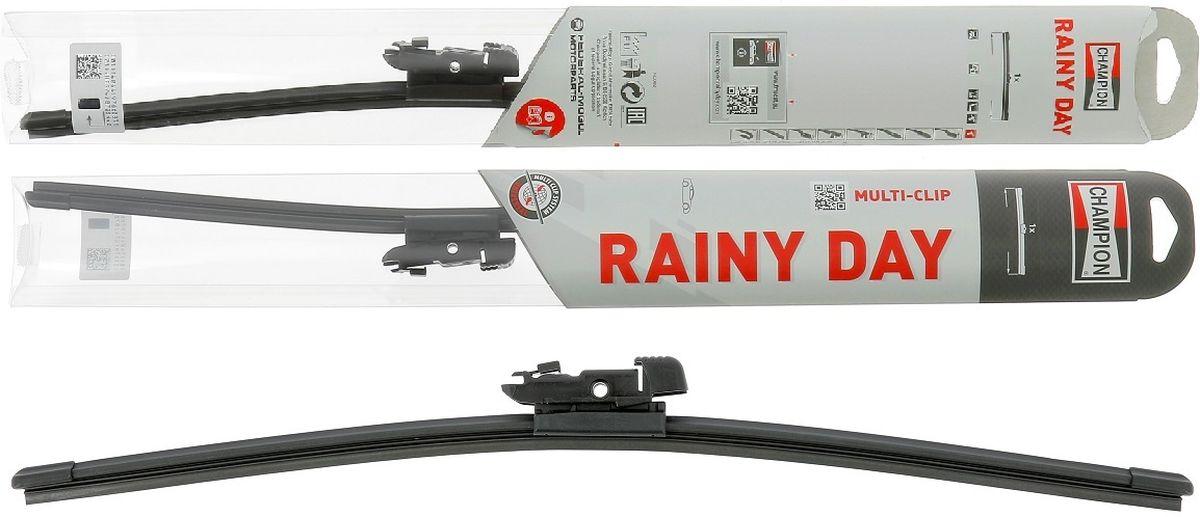 Щетка стеклоочистителя Champion Rainy Day, бескаркасная, длина 43 см, 1 штRDF43Благодаря конструкции с одинарным ребром жесткости, бескаркасные щетки стеклоочистителя Champion Rainy Day гарантируют меньшее скручивание и более высокую прочность при экстремальных режимах использования в зимнее время, на автомойке и т. д. Низкий профиль конструкции создает меньшее сопротивление набегающему потоку, обеспечивает привлекательный внешний вид и высокую эффективность очистки. Все эти конструктивные особенности обеспечивают надежность стеклоочистителям и возможность их установки практически на любой легковой автомобиль, включая модели с каркасными щетками стеклоочистителей. Стеклоочистители Champion Rainy Day имеют универсальное крепление Multi-Clip и крепление под крючок Classic Clip для лучшей совместимости. Благодаря обтекаемой конструкции подъем щетки набегающим потоком минимален. Это обеспечивает высокую эффективности очистки. Профиль щетки тонкий и узкий. На стекле остается минимальное количество воды за счет меньшего остаточного разбрызгивания. Прочная конструкция Champion Rainy Day легко выдержит мойку автомобиля или суровую зиму. Эти щетки созданы для сложных условий.
