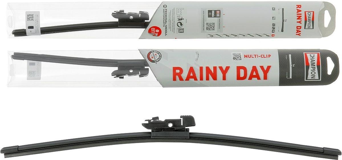Щетка стеклоочистителя Champion Rainy Day, бескаркасная, длина 45 см, 1 штRDF45Благодаря конструкции с одинарным ребром жесткости, бескаркасные щетки стеклоочистителя Champion Rainy Day гарантируют меньшее скручивание и более высокую прочность при экстремальных режимах использования в зимнее время, на автомойке и т. д. Низкий профиль конструкции создает меньшее сопротивление набегающему потоку, обеспечивает привлекательный внешний вид и высокую эффективность очистки. Все эти конструктивные особенности обеспечивают надежность стеклоочистителям и возможность их установки практически на любой легковой автомобиль, включая модели с каркасными щетками стеклоочистителей. Стеклоочистители Champion Rainy Day имеют универсальное крепление Multi-Clip и крепление под крючок Classic Clip для лучшей совместимости. Благодаря обтекаемой конструкции подъем щетки набегающим потоком минимален. Это обеспечивает высокую эффективности очистки. Профиль щетки тонкий и узкий. На стекле остается минимальное количество воды за счет меньшего остаточного разбрызгивания. Прочная конструкция Champion Rainy Day легко выдержит мойку автомобиля или суровую зиму. Эти щетки созданы для сложных условий.