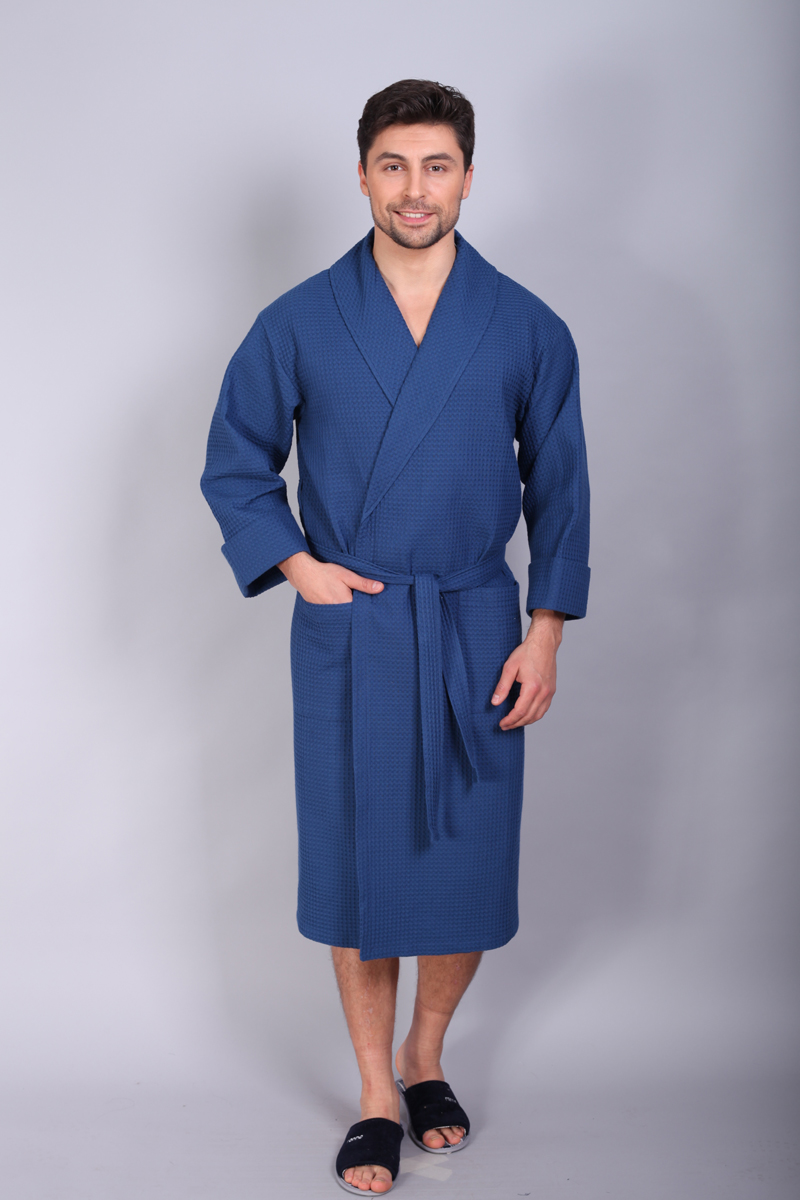 Халат мужской Cleo, цвет: синий. 831. Размер 48