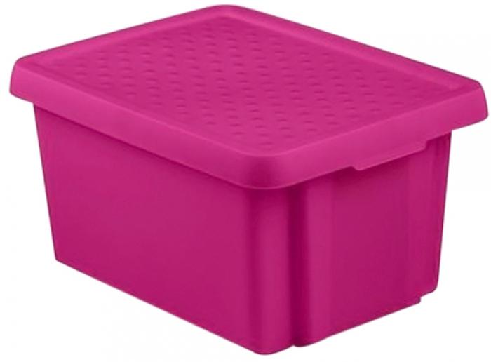 Коробка с крышкой Essentials, объем 16 л, фиолетовая.